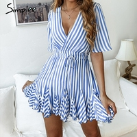 Simplee винтажное женское платье в полоску с v-образным вырезом и рюшами, хлопковое короткое летнее платье больших размеров, сексуальное повсед...
