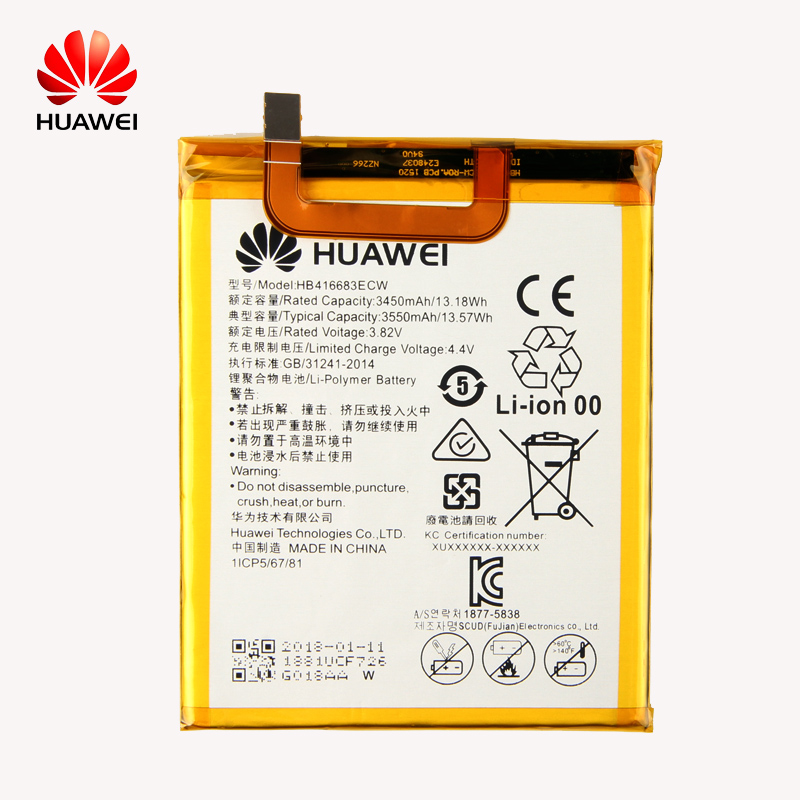 D'origine Huawei HB416683ECW Rechargeable Li-ion téléphone batterie Pour Huawei Nexus 6 p H1511 H1512 3450 mah