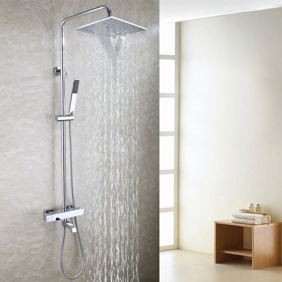 Shower Equipment Bathroom Shower Faucet Set Thermostat Faucet Mixer Tap Chrome Brass Waterfall Bath Shower Head Digital Shower Panel System