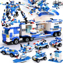 825-762PCS 8 IN 1 Robot Aircraft Car Building Blocks Compatible LegoINGly City Police Blocks Sets Creator Bricks Toys Children stud crimping tool for metal profile matrix 87951