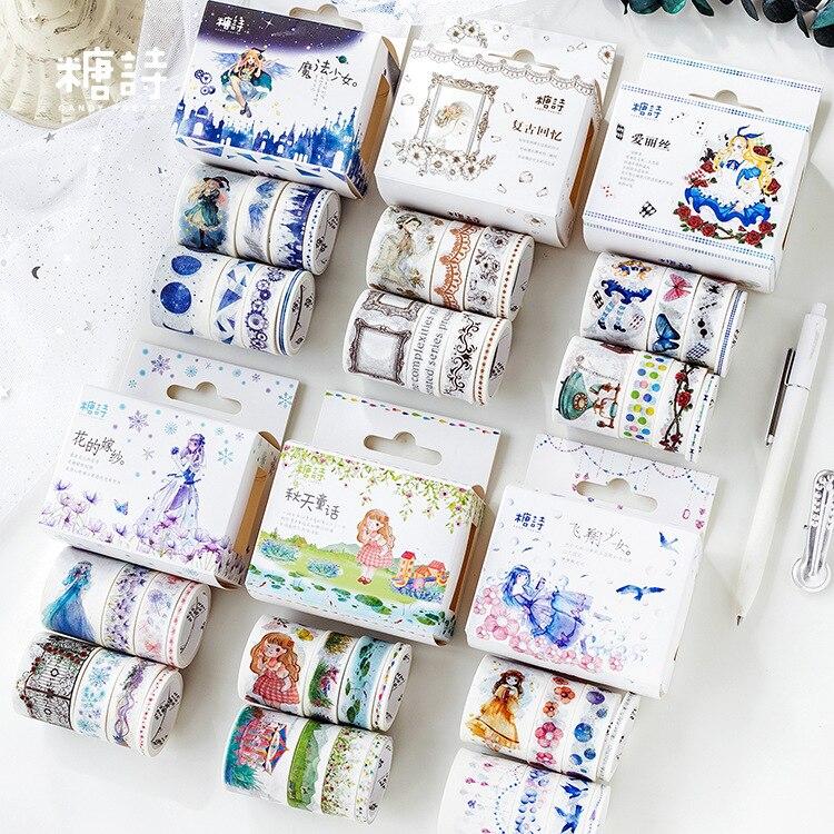 ><font><b>8pcs</b></font>/lot Decoration Cue <font><b>Kawaii</b></font> Washi Tape <font><b>Set</b></font> Stickers Decorative Scrapbooking <font><b>Japanese</b></font> Stationery Girl