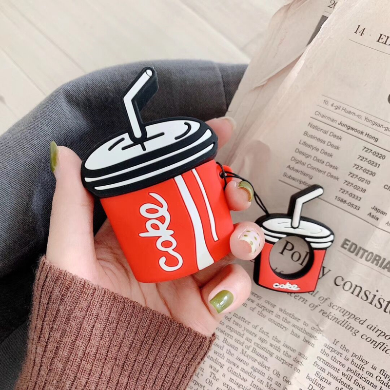 Image 2 - Bluetooth Wireless Earphone Air Pods 2 Silicone Cases For Apple Airpods Cute Coca Cola Protective Cover with Finger Ring Strap-in Earphone Accessories from Consumer Electronics