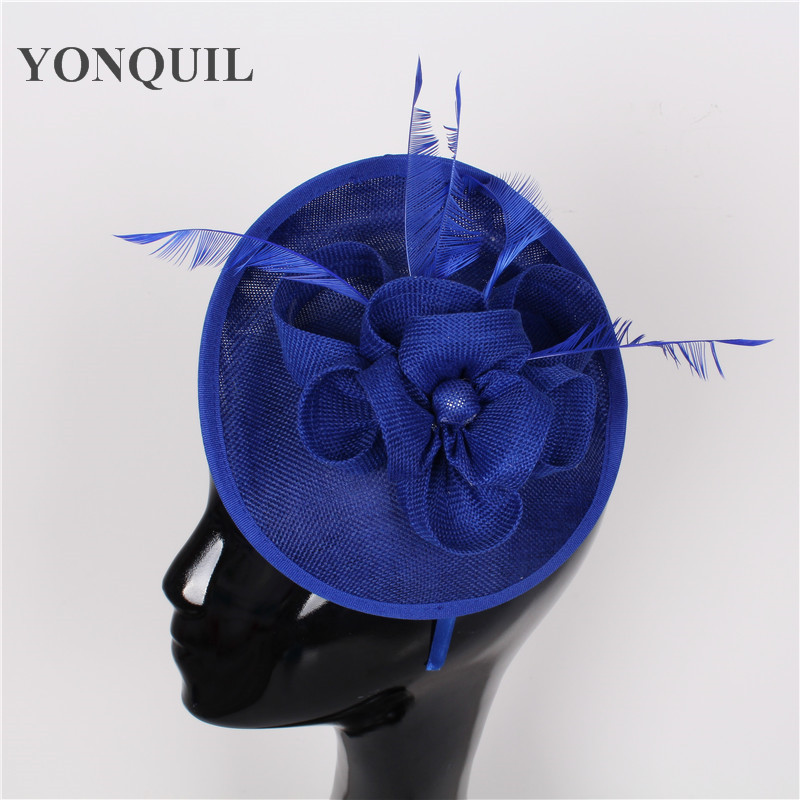 New Arrival Women's Pretty imitation sinamay Fascinator Hat on Hairbands Cocktail Wedding Church Headpiece craft multiple colors new arrival 30cm red millinery black imitation sinamay fascinator base with lace party diy hair accessories cocktail headpieces