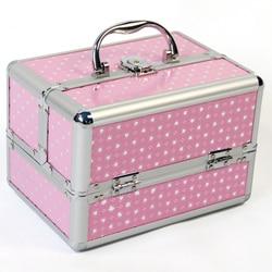 Кейс для косметики контейнер для профессиональной косметики с регулируемые разделители 4 лотки и набор инструментов для блокировки коробк...