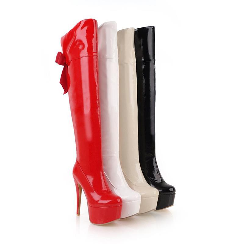 De Rond Hiver Cristal Chaussures Bottes Papillon Strass Sur Reine Style rouge Beige noir Bout blanc Plate Le Femmes Noeud Smeeroon forme Genou H9DYE2WI