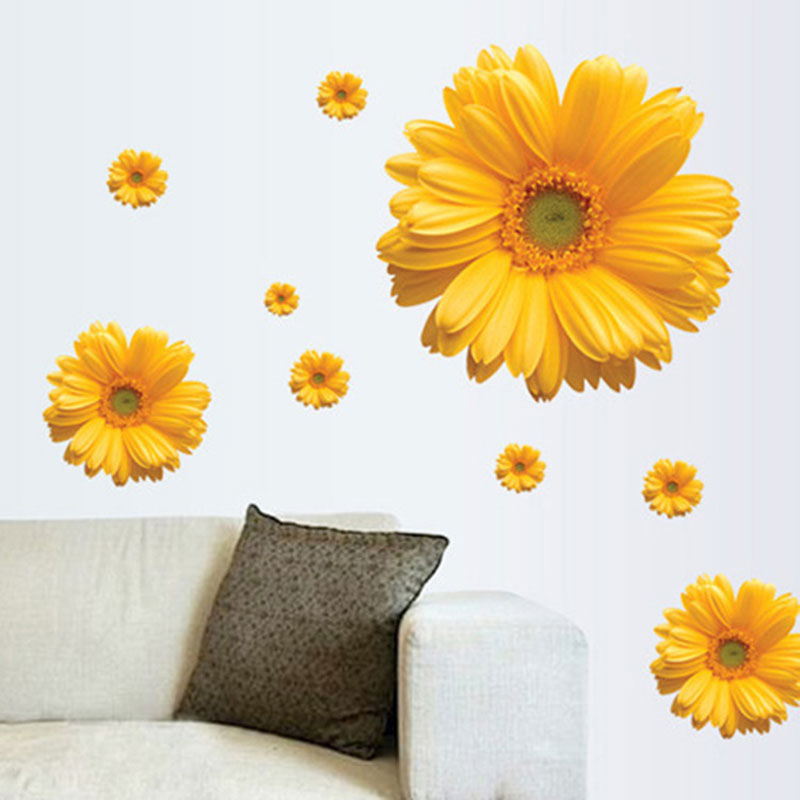 Bedroom Wallpaper Stickers Yellow Accent Wall Bedroom Bedroom Lighting Ideas Bedroom Ceiling Options: Free Shipping 1Set Yellow Flowers Decorative