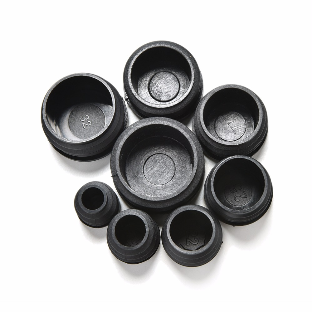 10Pcs 8 Sizes 16-35mm Black Plastic Furniture Leg Plug Blanking End Caps Insert Plugs Bung For Round Pipe Tube 10pcs black round plastic furniture leg plug blanking end caps insert plugs bung for round pipe tube 8 sizes wholesale