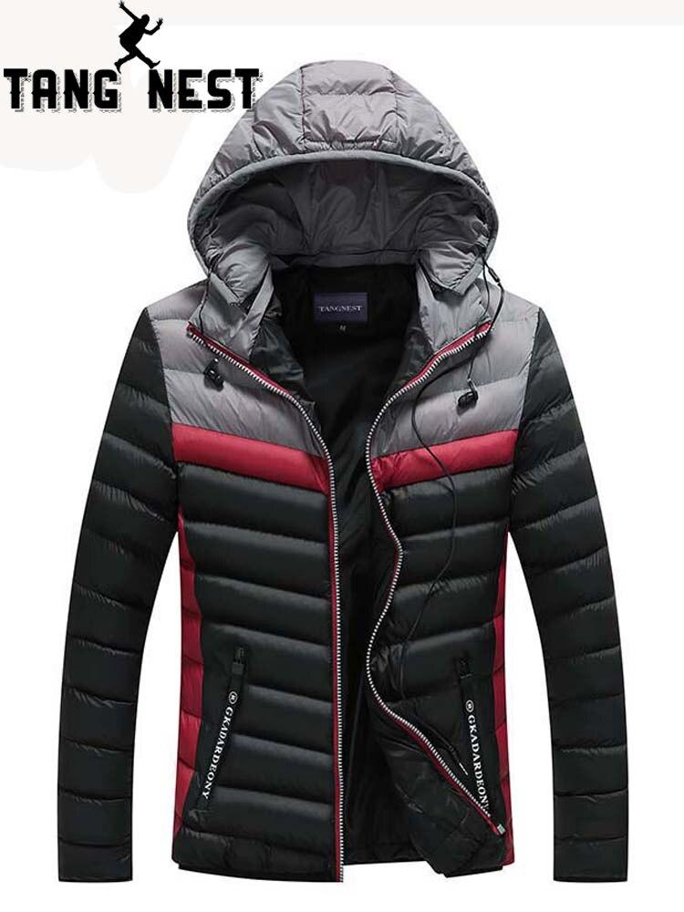 TANGNEST 2019 Winter Men Jacket Coat Warm Casual Stitching Comfortable Popular Men   Parka   Breathable Thick Coat MWM1887