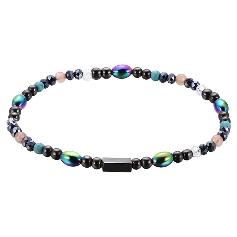 1Pc Weight Loss Round Black Stone Magnetic Therapy Anklet Health Care Magnetic Hematite Stretch Anklet For Men Women Jewelry 11