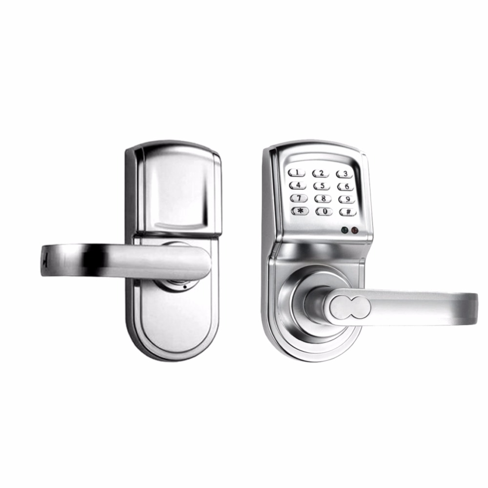 L&S Electronic Code Door Lock Smart Digital Keypad Password RF Card Key Stainless Steel Single Latch Zinc Alloy Silver L16068BS dl1115 electronic lock numeric keypad code rf card mechanical key zinc alloy rust