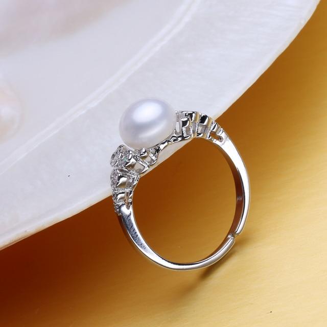 FENASY anello di fidanzamento, anelli Della Perla naturale per le donne, monili della perla D'acqua Dolce, Boemia 925 sterling silver ring 2018 nuovo