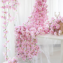 200cm Sakura Cherry Rattan Wedding Arch decoration Vine Artificial flowers Home party decor Silk Ivy wall Hanging Garland Wreath