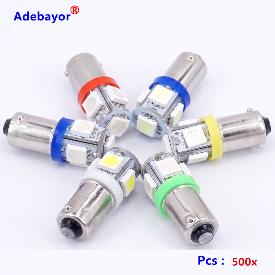 Ampoules LED d'intérieur, 5050 x T11 BA9S 5 SMD 1445, 5SMD T4W 182 Q65B H6W 53 57, indicateurs de voiture, lampe à cale, 7 couleurs
