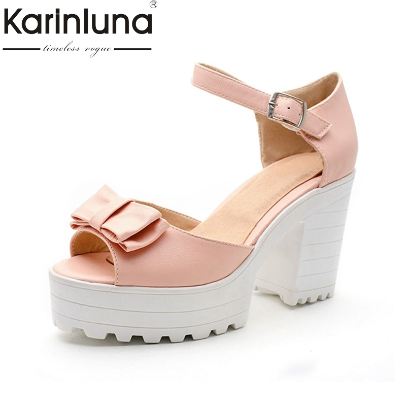 цена на KARINLUNA New Big size 34-43 Sweet bowtie Square High Heels Summer party dating woman Shoes Open Toe Platform Women Sandals