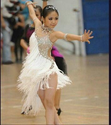 Новое Детское платье для латинских танцев, летний танцевальный костюм с кисточками и блестками для девочек, белая одежда для выступлений, тренировочный костюм