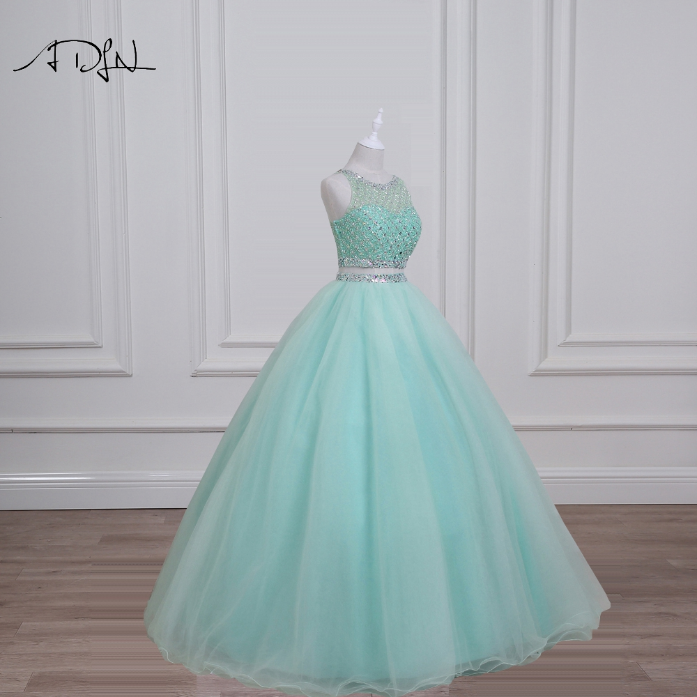 ADLN Real Photo Mint Green Quinceanera Dresses 2017 Gorgeous Beaded Sequin Crystal Two Piece Prom Dress Sweet 16 Dress Debutante