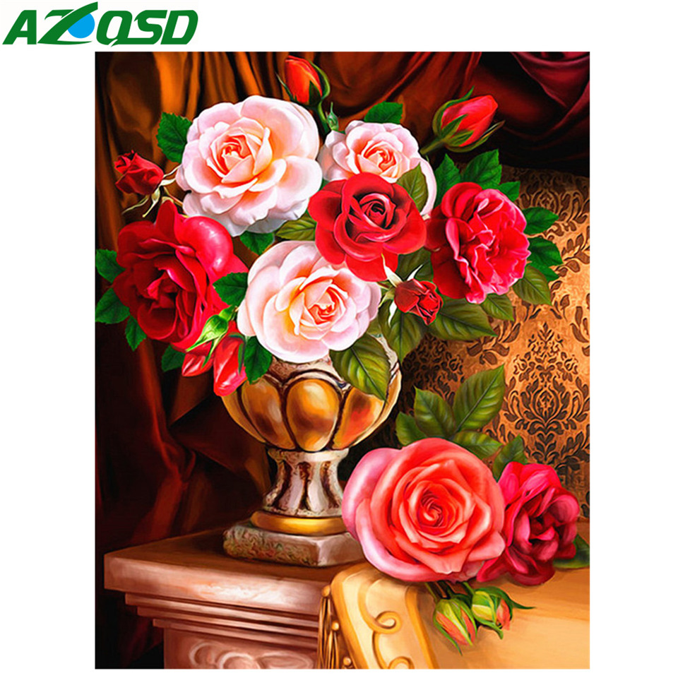 AZQSD Diamond Painting Flowers Rhinestones Pictures New Embroidery 2019 Home Decoration Mosaic Full Display