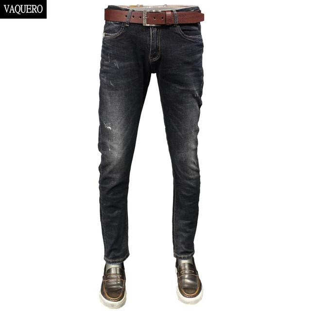 ea86994fc92 2016 осенние узкие мужские джинсы синие черные мужские джинсы стрейч  зауженные брюки-карандаш для мужчин