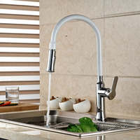 Good Quality White And Chrome Finish Dual Function Single Handle Pull Down Spray Kitchen Sink Faucet