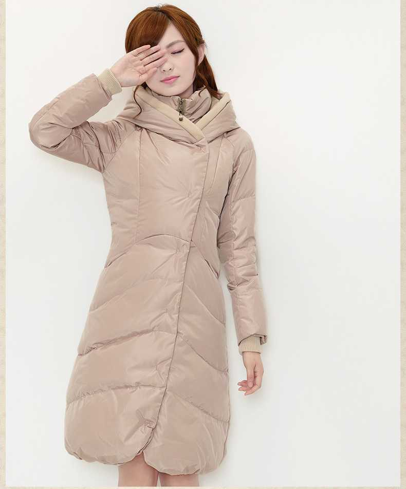New Arrival Fashion Winter Long  Jackets Slim Long Sleeves Hooded Solid Skirt Hem Large Size Overcoat Women  Coat H5243