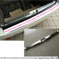 For Toyota Sienna 2015 Car Styling Cover Stainless Steel Inner Built Rear Bumper Protector Trim Plate