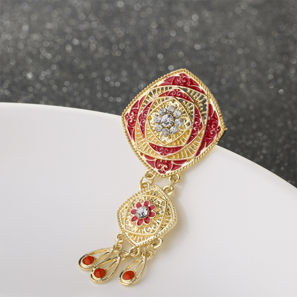 Retro Rhinestone Crystal Drop Brooches For Women Bridal Wedding Long Enamel Pin Party Jewelry Accessories 2 Style