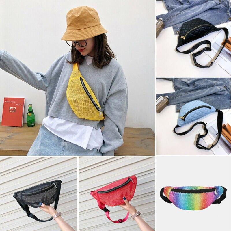 UK Women Travel Waist Fanny Pack Holiday Money Belt Wallet Glitter Bum Bag Pouch