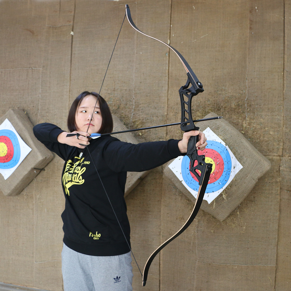 60inch 30-50lbs Recurve Bow Archery American Hunting Shooting Take Down Bows Black for Right Hand mongolian recurve bow 30 40 lbs with wooden handle and rest for right left hand user archery hunting shooting