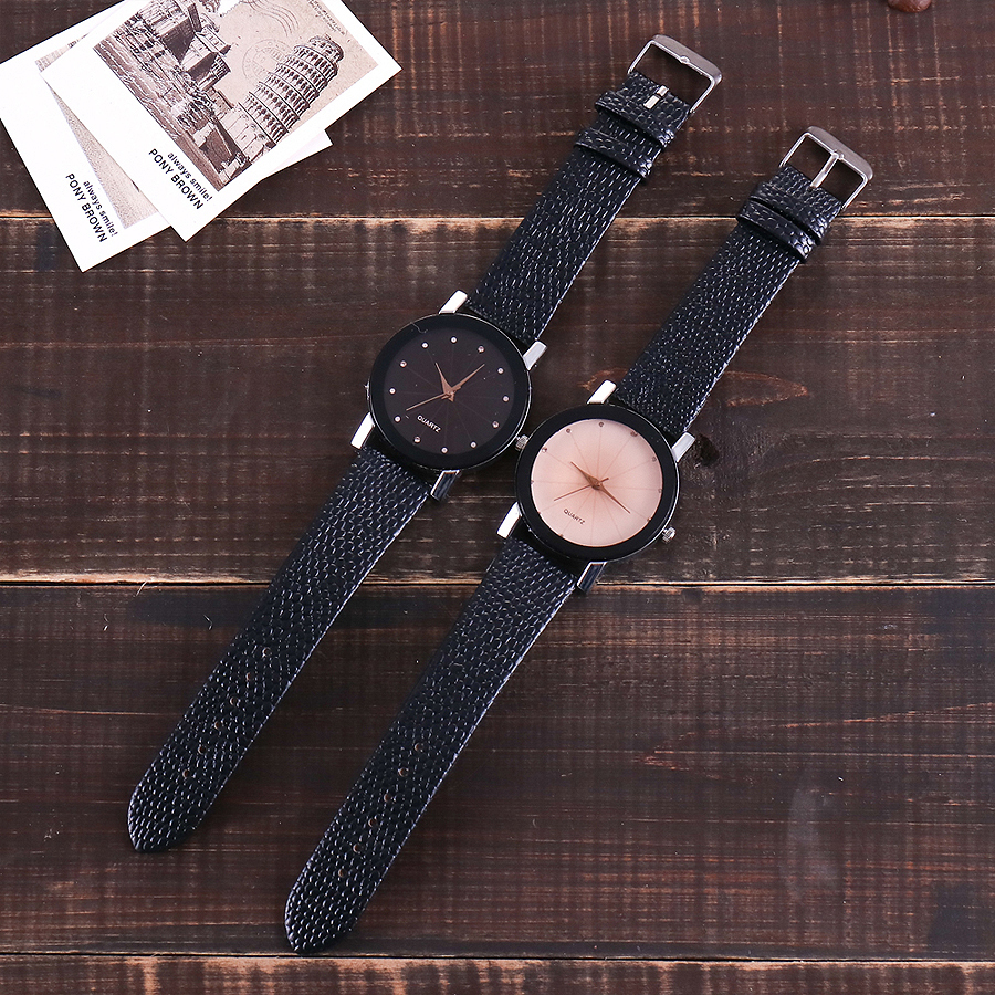 Montre luxe décontractée bracelet cuir