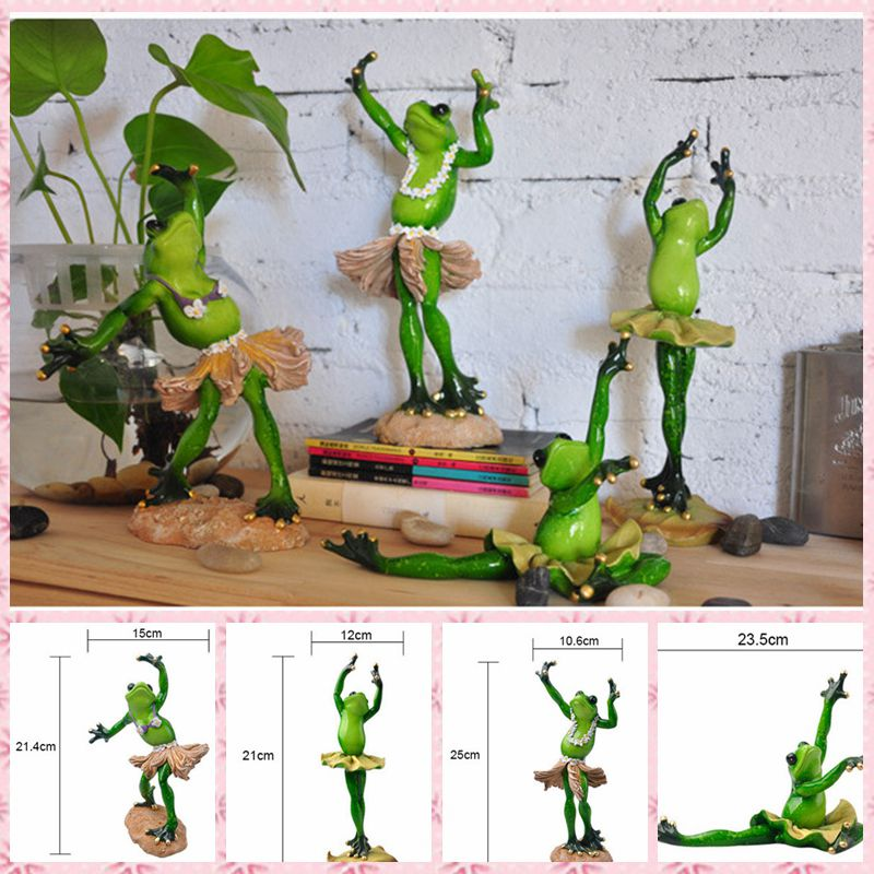 Free shipping Funny Frog Family Figures Resin toy Ballet Dancers cake home office desk car decoration party supply gifts funny fishing game family child interactive fun desktop toy