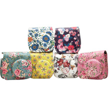 Flower PU Leather Camera Case Bag for Fujifilm Instax Mini 9 8 8 plus Instant Film Camera with Accessories Pocket and Strap