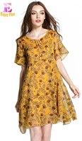 Chest 96 126cm Summer 2017 Flower Print Chiffon Women Dress Big Size Short Sleeve Elegant Loose