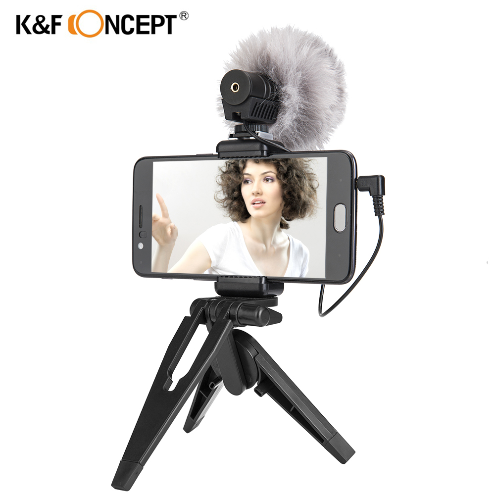K&F CONCEPT Recording Microphone Interview Mic Condenser With Stand Tripod for iPhone 6 7 8 plus for Xiaomi Huawei smart phoneK&F CONCEPT Recording Microphone Interview Mic Condenser With Stand Tripod for iPhone 6 7 8 plus for Xiaomi Huawei smart phone