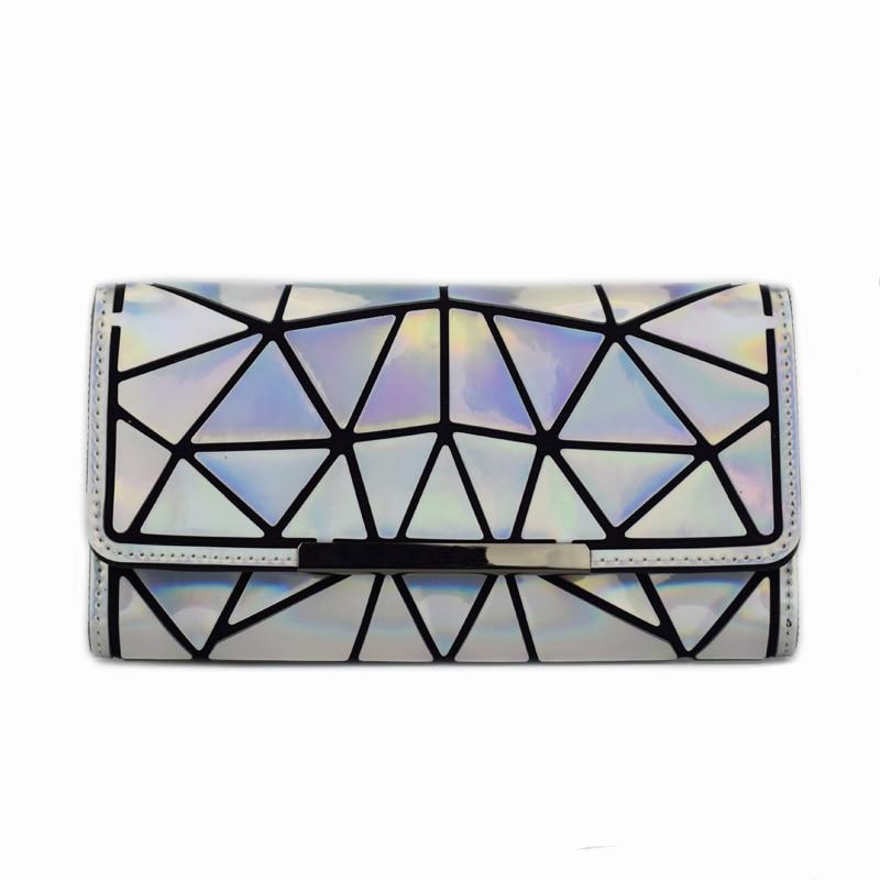 2018 Mulheres Novas Carteiras Bolsa Geometria Noctilucent Luminous Senhoras Bolsas de Embreagem Telefone Bolsa Feminina Com Zíper Carteira Carteira Feminina