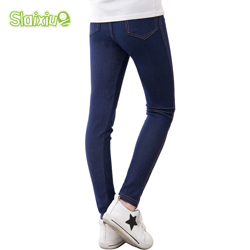 Jeggings Jeans For Girls Pencil Knit Imitation Jeans Kids Candy Colore Mid Waist Full Length Pants Children Clothing