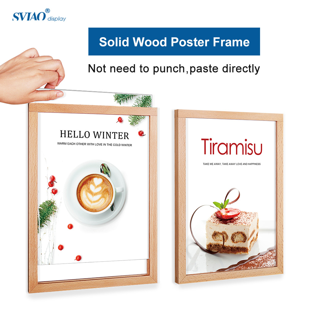 A4 Photo Frames, Solid Wooden with acrylic panel Picture Frames, Certificate Frames, wall mount paste directly use needn't punch