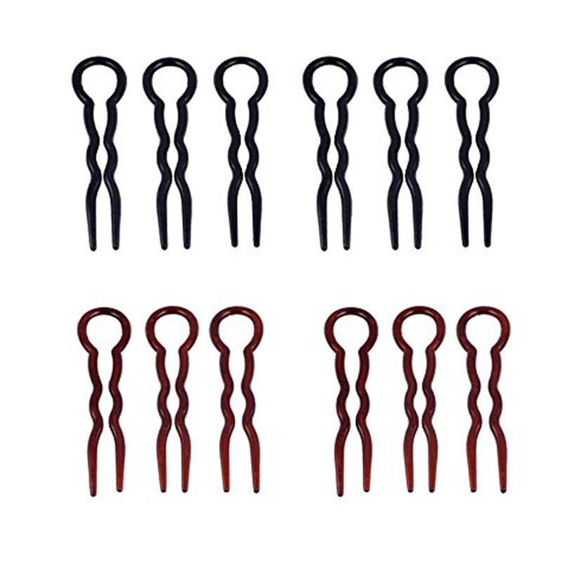 12pcs Office Lady Style Simple Fast Spiral Hairpin U Shaped Hair Braid Twist Pins Styling Tool (Black & Coffee)