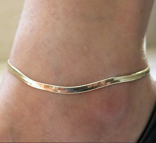 New Fashion Accessories Jewelry gold chain anklet, Herringbone adjustable charm anklet,ankle leg bracelet,foot jewelry