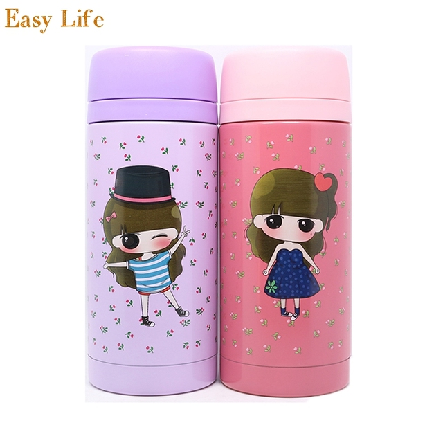 350ml Thermos Cup Fashion Cute Coffee Mugs Insulated Milk Bottle My Drinkware Kids Stainless Steel Children