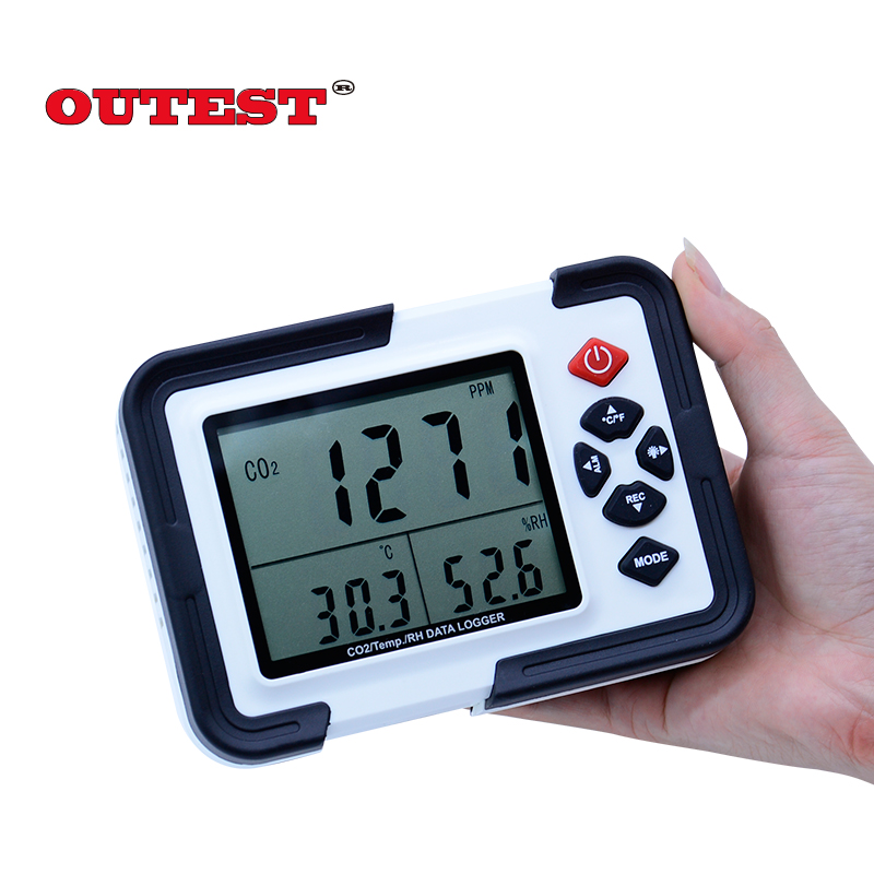 HT-2000 Digital CO2 Monitor CO2 Meter Gas Analyzer detector 9999ppm CO2 Analyzers With Temperature and Humidity Test digital indoor air quality carbon dioxide meter temperature rh humidity twa stel display 99 points made in taiwan co2 monitor