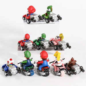 Image 5 - 10 Pcs/ set Anime Figura Super Mario Bros Kart Pull Back Car Cute PVC Action Figure Doll Collectible Model Baby Toy For Kids