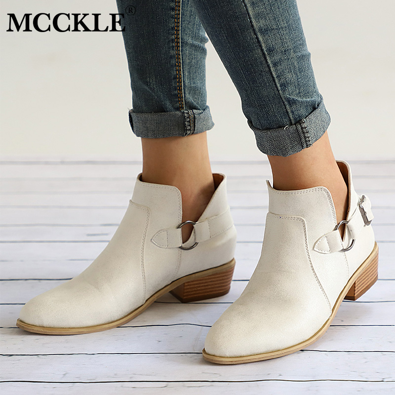 купить MCCKLE Autumn Female Ankle Boots Women Low Heel Shoes Buckle Clog Heels Plus Size Casual Slip On Short Boot oncise Footwear по цене 1169.53 рублей