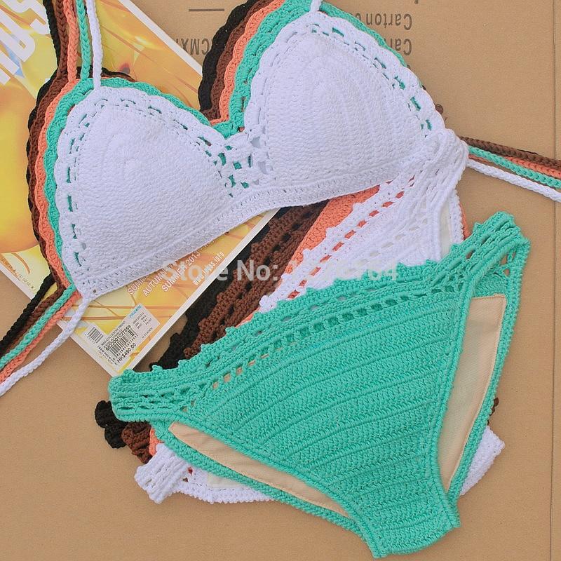 Ženy háčkování plavky Bikini Set, háčkované řemeslně plavky plavky