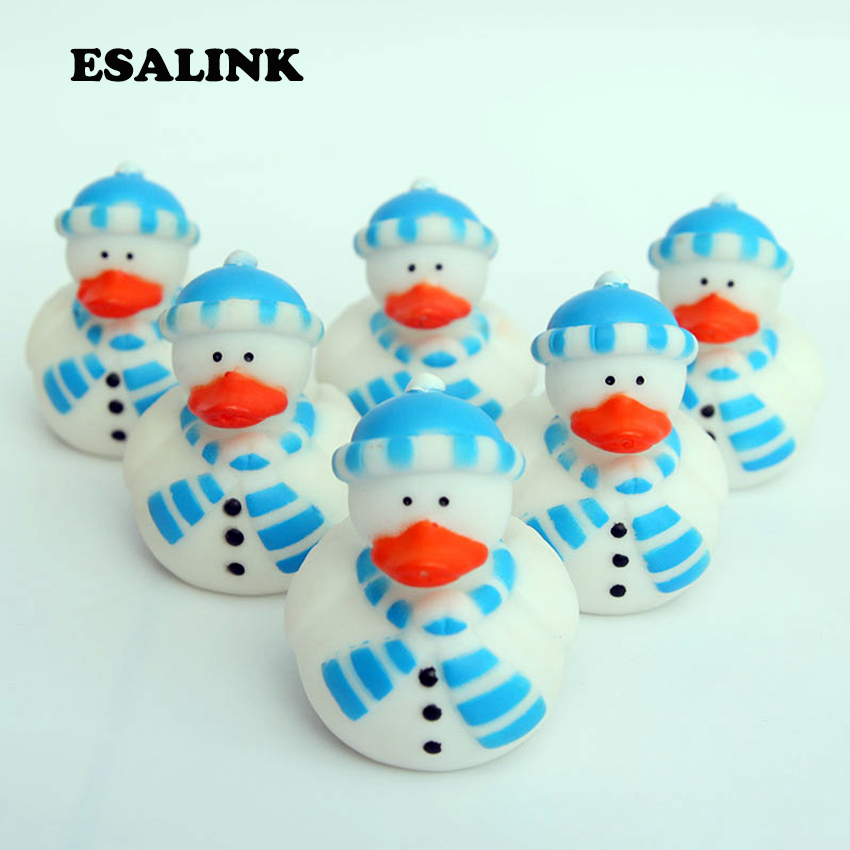 6pcs/lot Cognitive Floating Toys Baby Shower Lovely Snowman Style Rubber Ducks High Quality Best Gift Toys For Kids