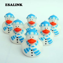 6pcs/lot cognitive floating toys baby shower Lovely snowman style rubber ducks high quality best gift for kids
