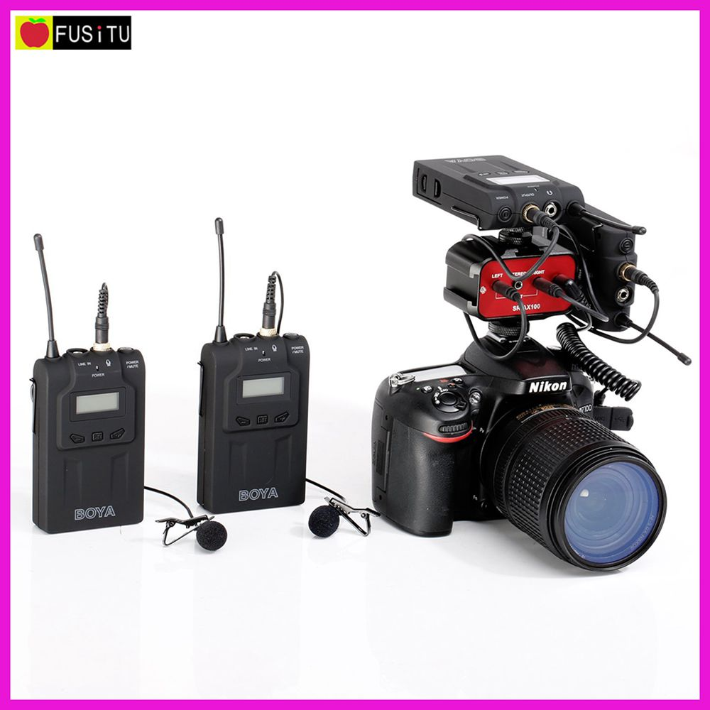 BOYA BY-WM6 Ultra Haute Fréquence UHF Sans Fil Micro-cravate Système pour Canon Nikon Sony DSLR Camera Audio Enregistreur