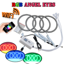 4 120MM RGB Led Angel Eyes Halo Rings Kit WIFI Controller For Bmw E30 E32 E34