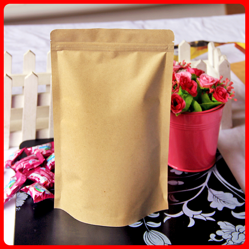50pcs/lot 18cm*30cm+5cm*140mic High Quality Laminating Pouches Packaging Paper Kraft Paper Bag Crafts Stand Up Bag
