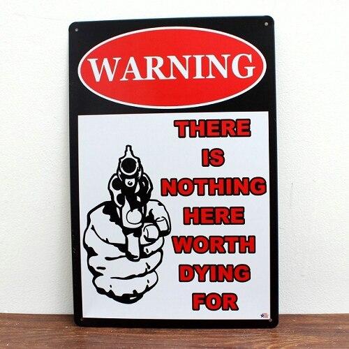 Предупреждение нет ничего Жесть Признаки фильм постер Книги по искусству кафе-бар Винтаж наклейки металл роспись стены Home Decor 20x30 см