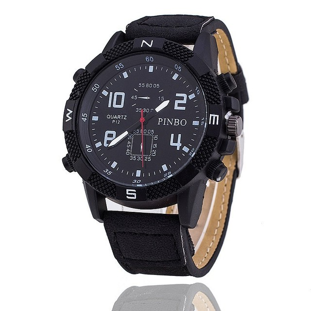 Relojes Hot Sale Fashion Luxury Brand Pinbo Black Leather Watch Bear Mens Milita